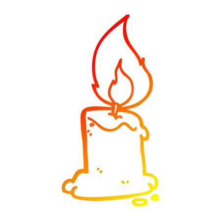 warm gradient line drawing of a cartoon candle