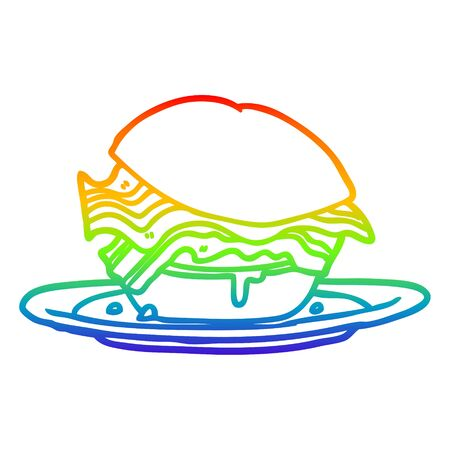 rainbow gradient line drawing of a amazingly tasty bacon breakfast sandwich with cheese