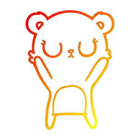 warm gradient line drawing of a peaceful cartoon bear cub