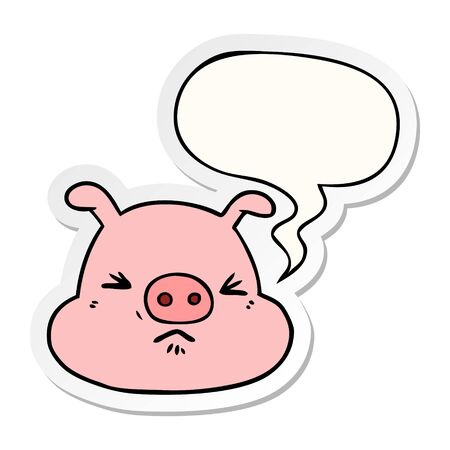 cartoon angry pig face with speech bubble sticker