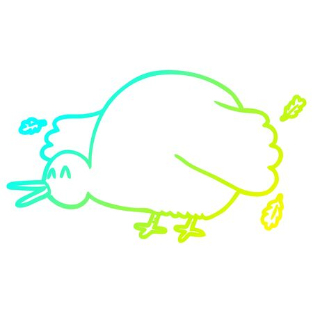 cold gradient line drawing of a cartoon kiwi bird flapping wings