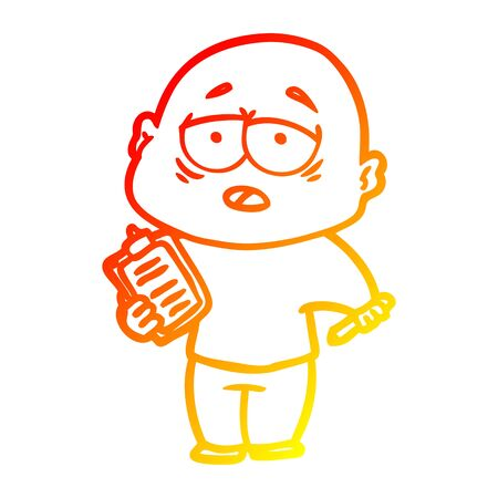 warm gradient line drawing of a cartoon tired bald man 일러스트
