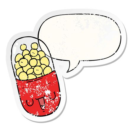 cartoon medical pill with speech bubble distressed distressed old sticker Stock Illustratie