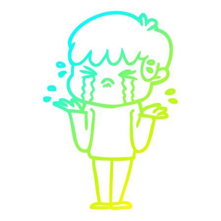 cold gradient line drawing of a cartoon boy crying and shrugging shoulders Ilustração