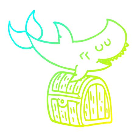 cold gradient line drawing of a cartoon shark swimming over treasure chest