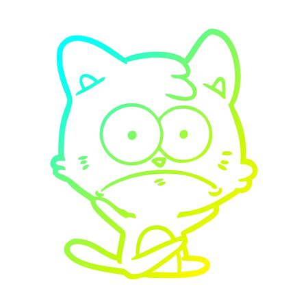 cold gradient line drawing of a cartoon nervous cat
