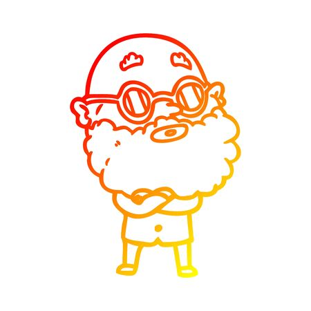 warm gradient line drawing of a cartoon curious man with beard and glasses