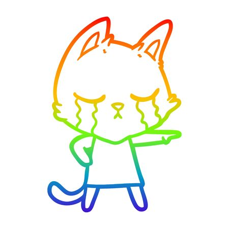 rainbow gradient line drawing of a crying cartoon cat in dress pointing