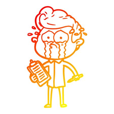 warm gradient line drawing of a cartoon crying man