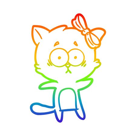 rainbow gradient line drawing of a cartoon cat Иллюстрация