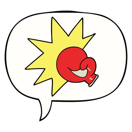 boxing glove cartoon with speech bubble 向量圖像
