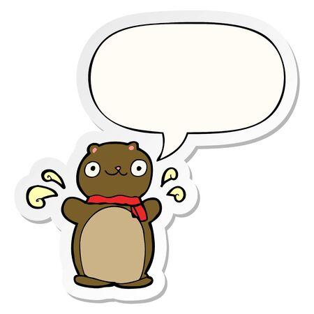 cartoon happy teddy bear with speech bubble sticker