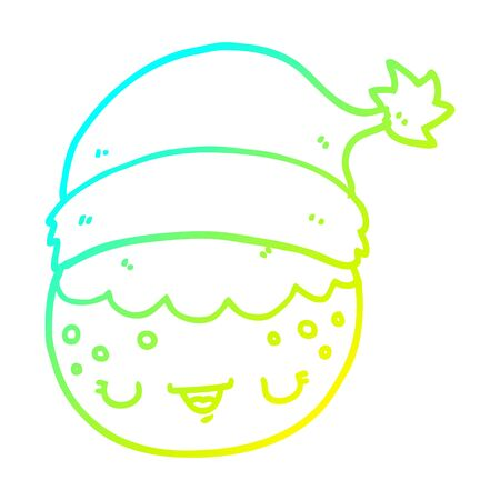 cold gradient line drawing of a cartoon christmas pudding wearing santa hat