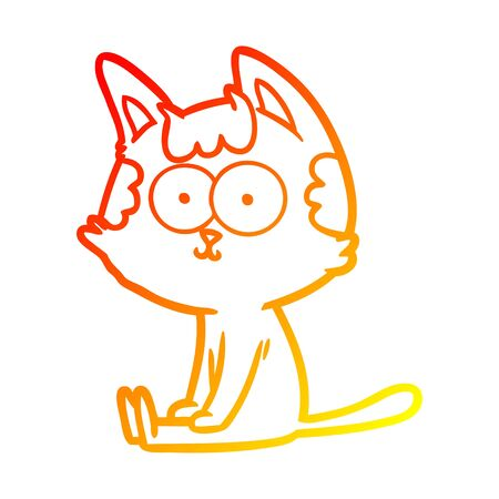 warm gradient line drawing of a happy cartoon cat
