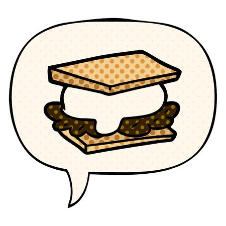 smore cartoon with speech bubble in comic book style  イラスト・ベクター素材