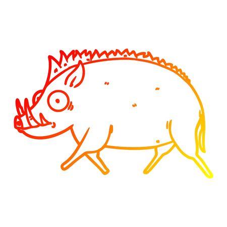 warm gradient line drawing of a cartoon wild boar