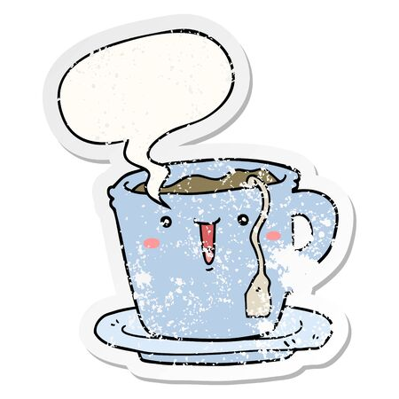 cute cartoon cup and saucer with speech bubble distressed distressed old sticker 일러스트