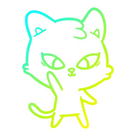cold gradient line drawing of a cute cartoon cat