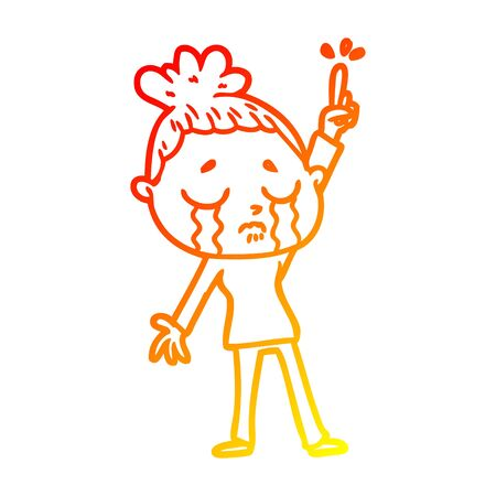 warm gradient line drawing of a cartoon crying woman raising hand Foto de archivo - 129917611