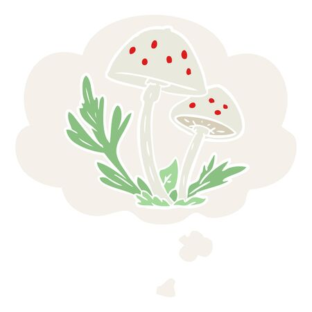cartoon mushrooms with thought bubble in retro style