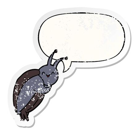 cute cartoon beetle with speech bubble distressed distressed old sticker