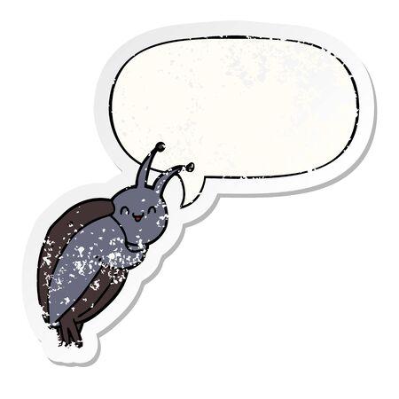 cute cartoon beetle with speech bubble distressed distressed old sticker Foto de archivo - 129917616