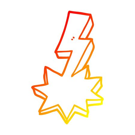 warm gradient line drawing of a cartoon lightning strike 向量圖像