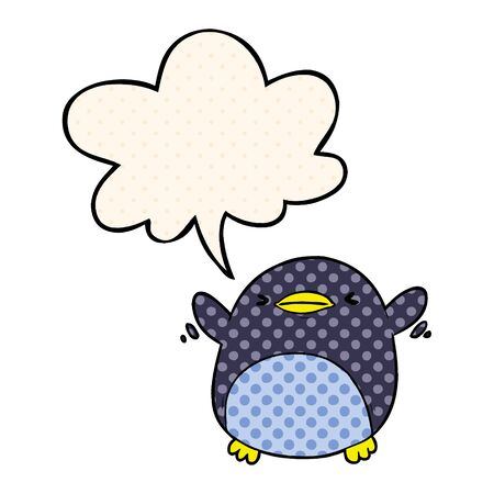 cute cartoon penguin flapping wings with speech bubble in comic book style