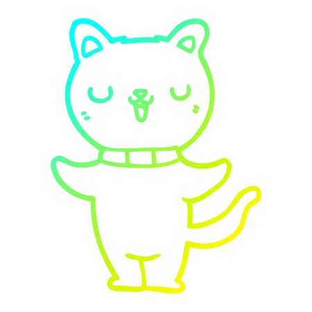 cold gradient line drawing of a cartoon cat Иллюстрация