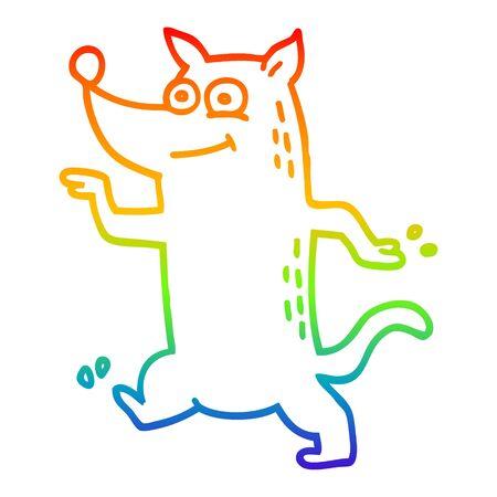 rainbow gradient line drawing of a cartoon funny dog