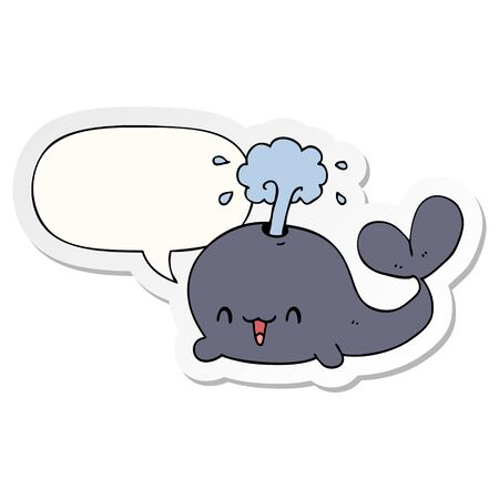 cartoon whale with speech bubble sticker Stockfoto - 129917650