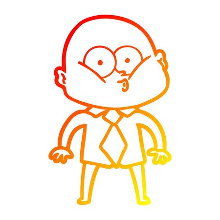 warm gradient line drawing of a cartoon bald man staring