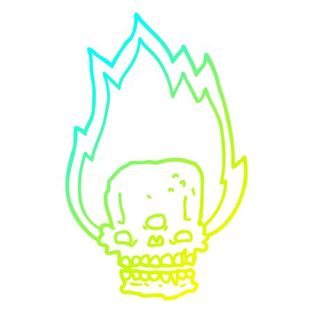 cold gradient line drawing of a spooky cartoon flaming skull