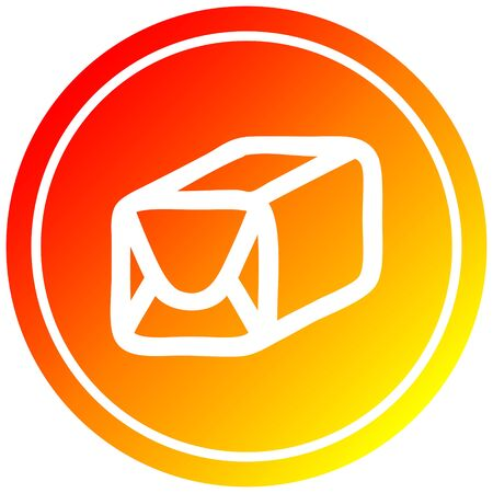 wrapped parcel circular icon with warm gradient finish Иллюстрация