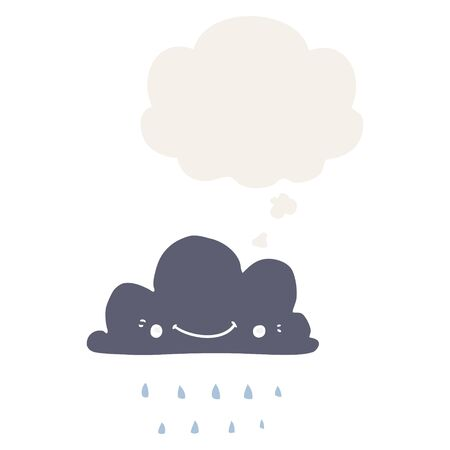 cartoon storm cloud with thought bubble in retro style 写真素材 - 129917681