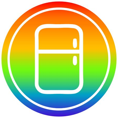 kitchen refrigerator circular icon with rainbow gradient finish