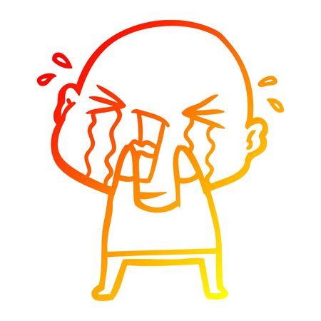 warm gradient line drawing of a cartoon crying bald man
