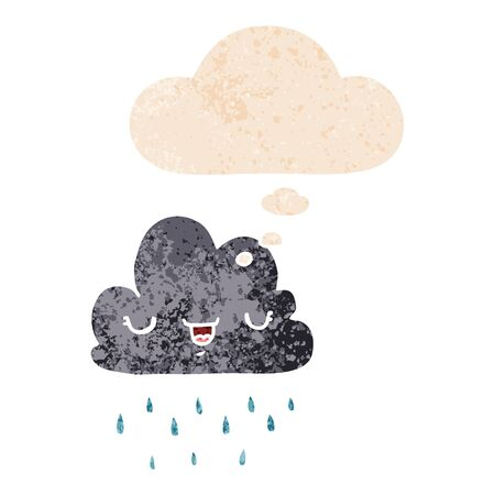cartoon storm cloud with thought bubble in grunge distressed retro textured style 写真素材 - 129917530