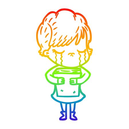 rainbow gradient line drawing of a cartoon woman crying Foto de archivo - 129917540