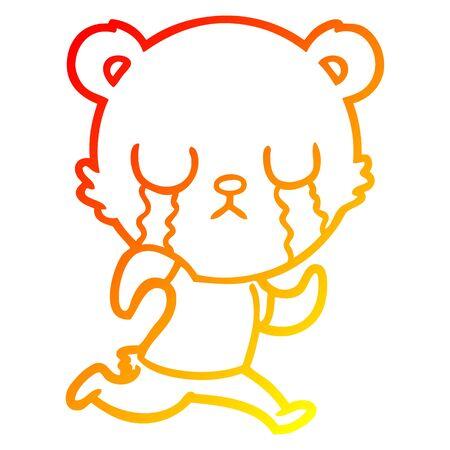 warm gradient line drawing of a crying polar bear cartoon  イラスト・ベクター素材