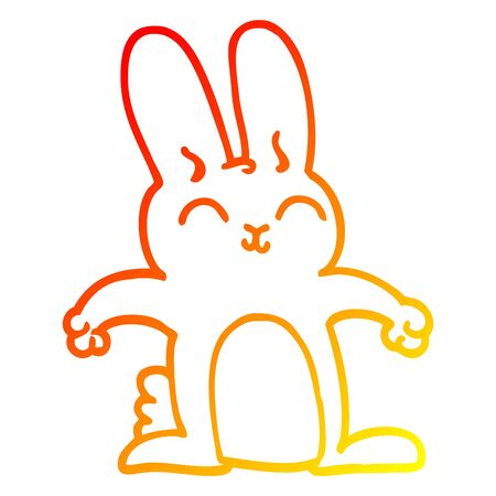warm gradient line drawing of a cartoon grey rabbit