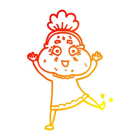 warm gradient line drawing of a cartoon dancing old lady