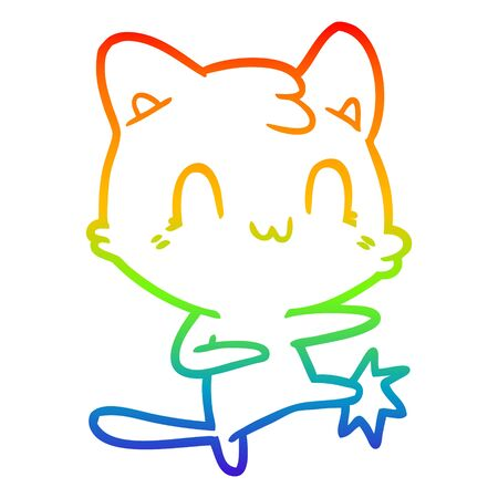 rainbow gradient line drawing of a cartoon happy cat karate kicking