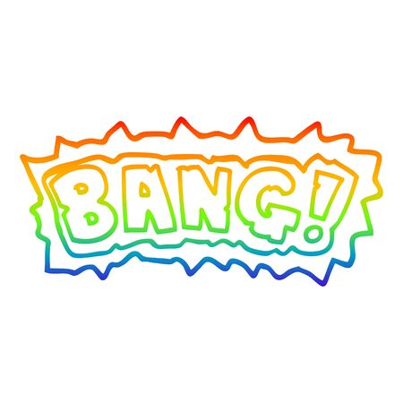 rainbow gradient line drawing of a cartoon word bang