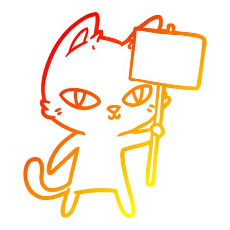 warm gradient line drawing of a cartoon cat waving sign Иллюстрация