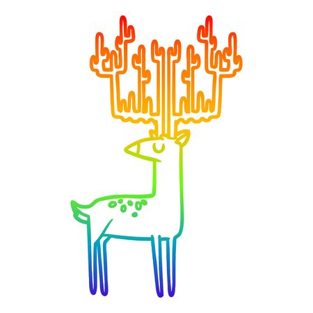rainbow gradient line drawing of a cartoon stag with huge antlers