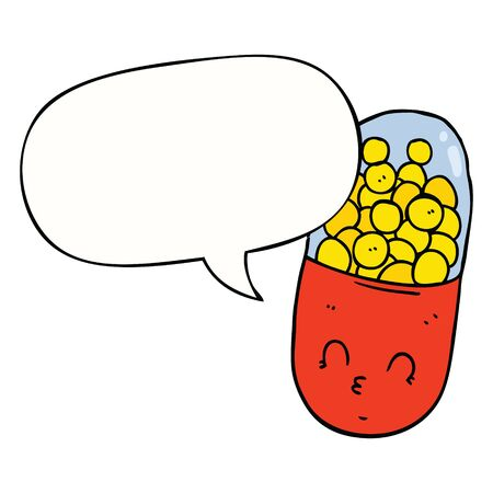 cartoon pill with speech bubble Ilustracja