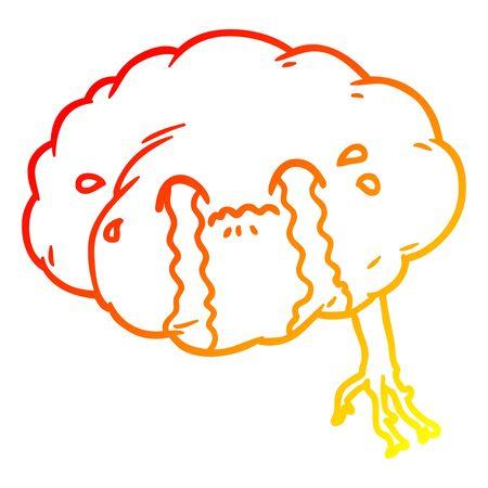 warm gradient line drawing of a cartoon brain with headache