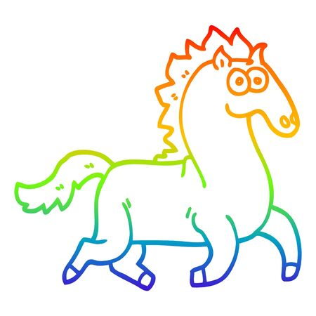 rainbow gradient line drawing of a cartoon magnificent stallion Illustration