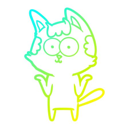 cold gradient line drawing of a happy cartoon cat shrugging;shoulders Иллюстрация